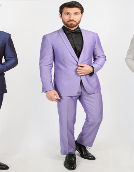 Mens Purple Shawl Lapel One Chest Pocket Suit
