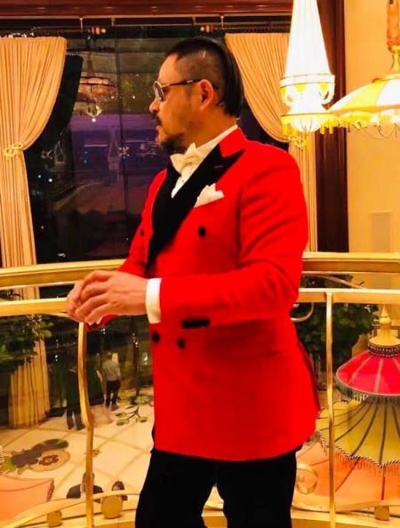 Mens Fashion Navy Blue Polka dot Blazer Sport Coat + Red By Alberto Nardoni
