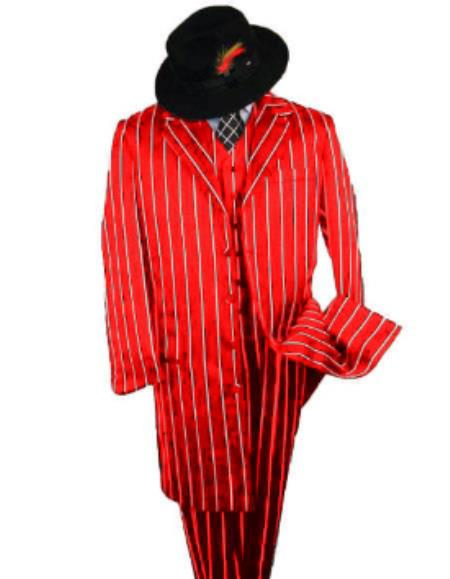 Black And Bold Pronounce Red ~ White Pinstripe Fashion Long Suit