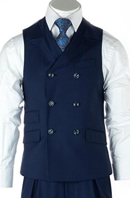 Mens Blue Peak Lapel One Chest Pocket Set Vest + Pleated Pants