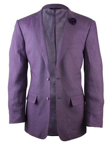 Mens Purple Notch Lapel One Chest Pocket Linen Blazer