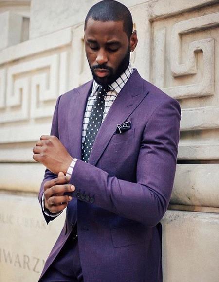 Mens Purple One Buttons Single Breasted Notch Lapel Linen Sport Coat