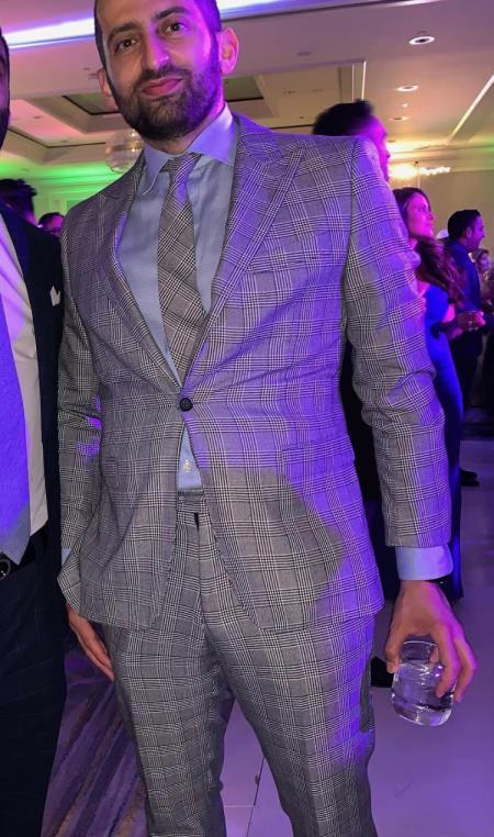 Gray One Buttons Peak Lapel Suit for Men