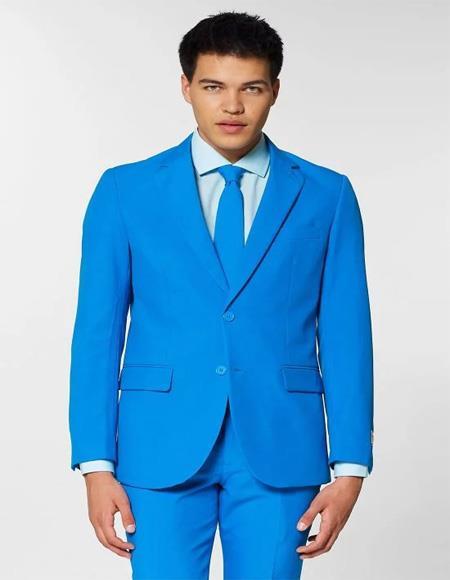 Men's two buttons Notch lapels Blue Slim fit Suit