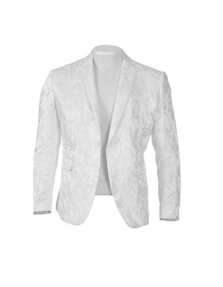 Men's One Button Peak lapel Fully lined Off-White Slim fit Blazer