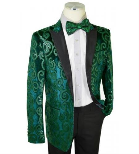 Mens Green Velvet Blazer Cielo Emerald Green / Black Sequined Velvet / Satin Modern slim fit cut Blazer