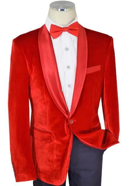 Cielo Solid Red Velvet / Satin Shawl Collar Modern slim fit cut  Blazer