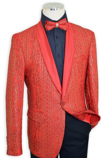 Cielo Red / Metallic Gold Embroidered Satin Classic Slim Fit Cut Blazer / Bow Tie