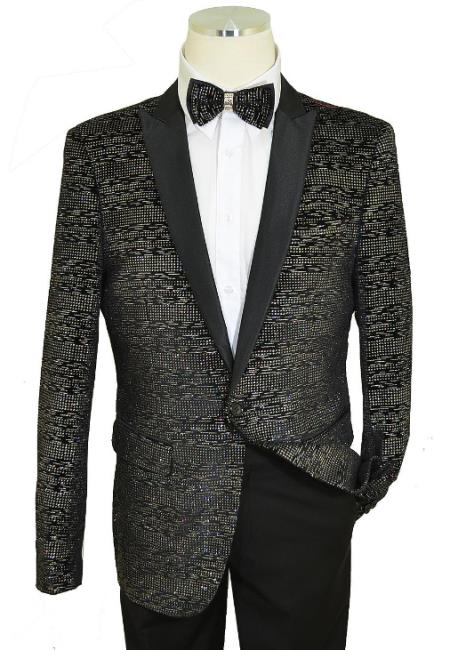 Black Poly Blend Flapped Waist Pocket Slim Fit Cut Velvet Blazer