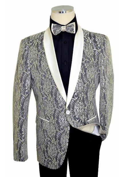 Off-White ~ Black Satin Fabric Patterns Shawl Lapel Slim Fit Cut Blazer