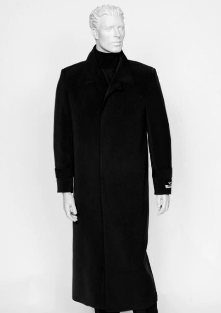 Mens Black 4 Buttons Notch Lapel Full Length Coat Duster Maxi Coat
