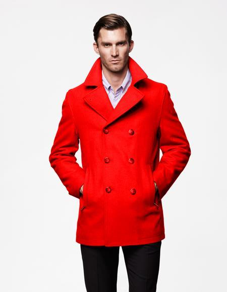 Mens Red Double Breasted Big and Tall Wool Fabric Winter Coats