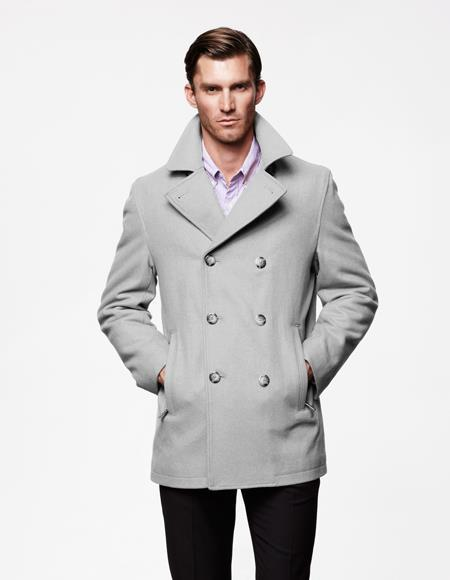 Mens Light Grey Front Slash Pockets Big and Tall Peacoat