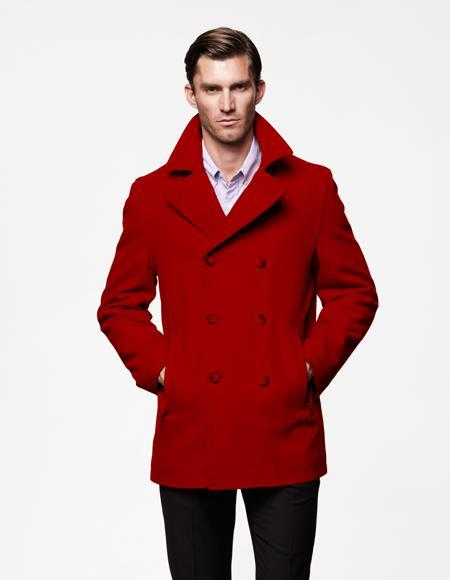 Mens Dark Red Double Breasted Notch Lapel Big and Tall Peacoat