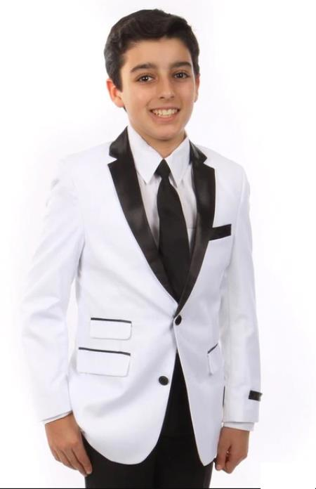 Matching Father and Son White Notch Lapel One Chest Pocket Suit