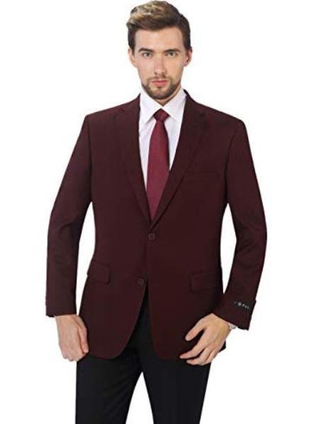Mens Classic Fit Sport Coat Suit Jacket Blazer Burgundy