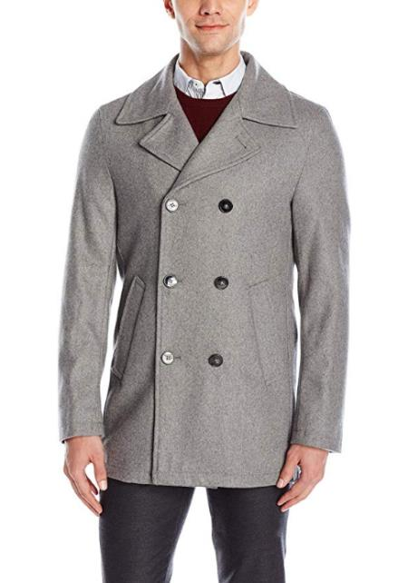 Mens Wool Light Grey Double Breasted Short Peacoat