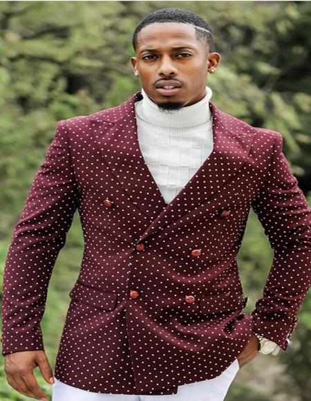 Slim Fit Double Breasted Blazer ~ Sport Coat Burgundy polka dot pattern!