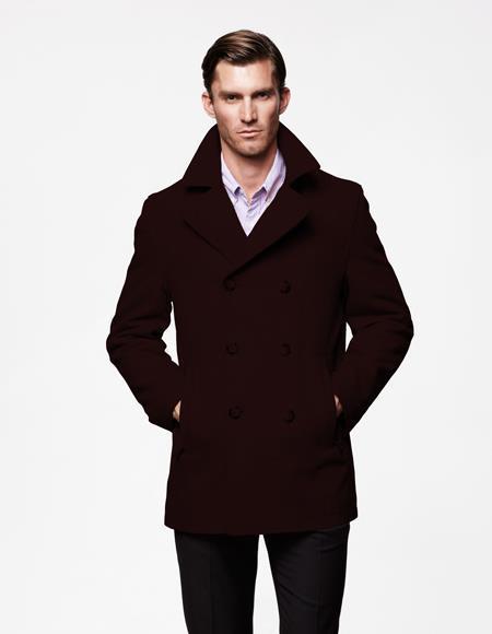Mens Brown Front Slash Pockets Notch, Mens Brown Pea Coats