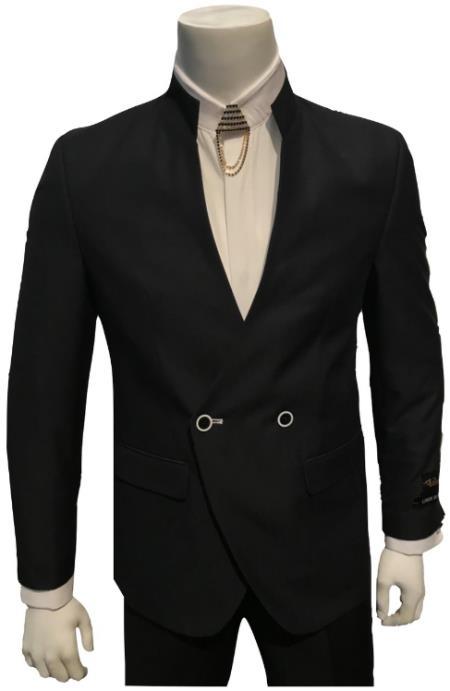 Breasted Mandarin Collar Black