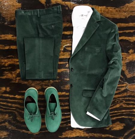 Velvet Tuxedo Dinner Jacket Blazer + Scarab Green