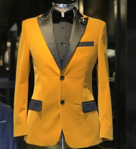 Velvet Tuxedo Dinner Jacket Blazer + Gold