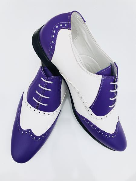 Mens Leather Two Toned Wing Tip Oxford Lace Up Shoe Blue