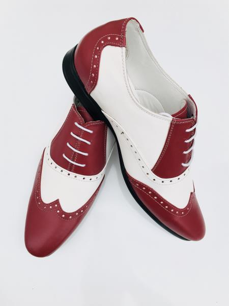 Mens Leather Two Toned Wing Tip Oxford Lace Up Shoe Burgundy