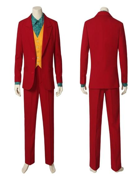 Mens Red Single Breasted Peak Lapel Suit With Orange Vest