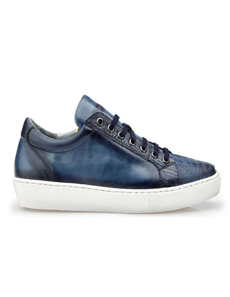 Mens Blue Safari Leather lining Belvedere Sneakers