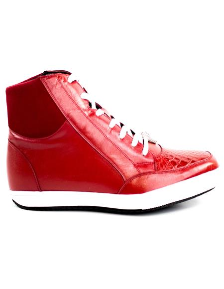Mens Red Leather Lining Belvedere Sneakers