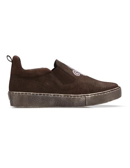 Brown Genuine Nubuck Lizard Leather Lining Sneakers