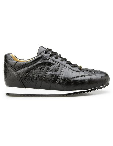 Black Leather lining Genuine Ostrich Belvedere Sneakers