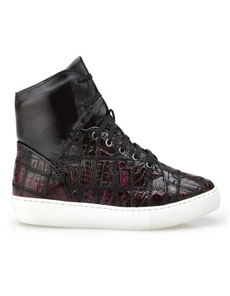 Black Cherry Leather Lining Sneakers for Mens