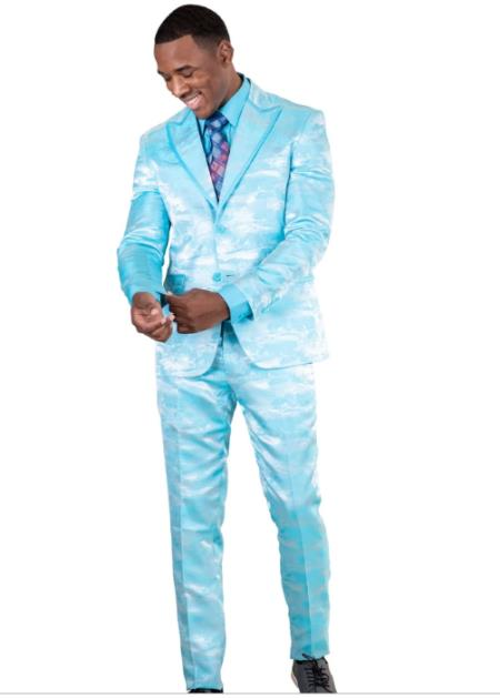 Slim Fit Fashion Aqua ~ Turqpise Color Paisley Floral Suit or Tuxedo Jacket and Pants Perfect for Prom or Wedding