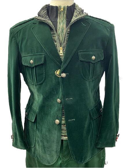 Mens Hunter Green our Flap Front Pockets Blazer