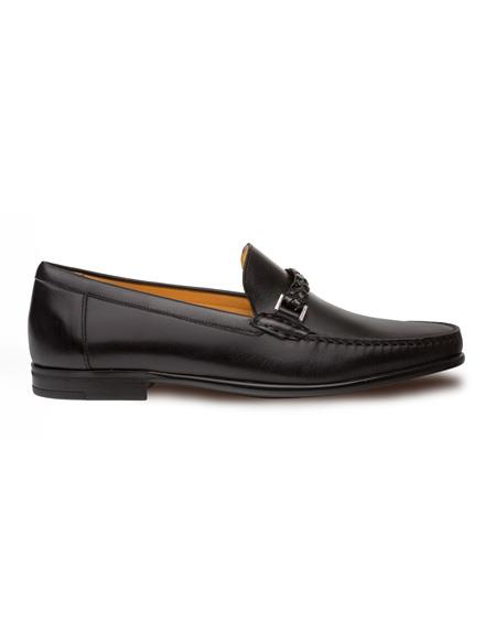 Authentic Mezlan Loafer - Mezlan Loafer - Mezlan Slip On Black Classic Hand-Stiched Apron Toe Moccasin Mezlan Mens Shoes