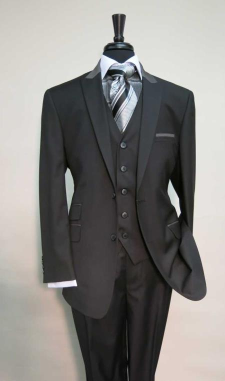 Peak Lapel Black Suit
