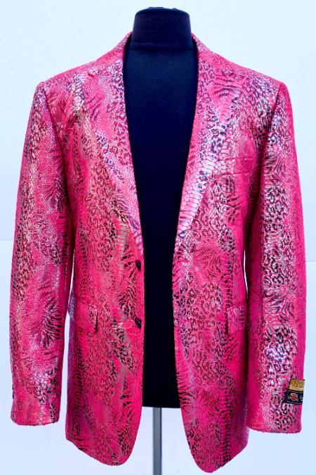 Pink Peak Lapel Alligator Skin Pattern Blazer for Men