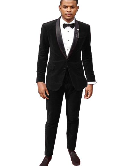 Velvet Suit / Tuxedo Jacket and Velvet Pants Black