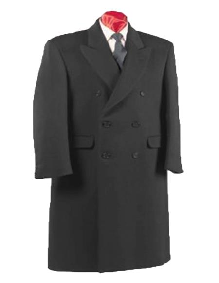 Charcoal Grey Fully Lined Double Breasted Wool Blend Long Overcoat