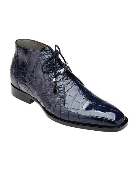 Mens Crocodile Boots - Ankle Boot Belvedere Stefano Navy Genuine Alligator Ankle Boot