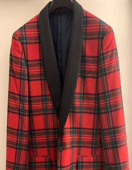 Tartan Nonfunctional Buttons at Cuffs Button Closure Suit