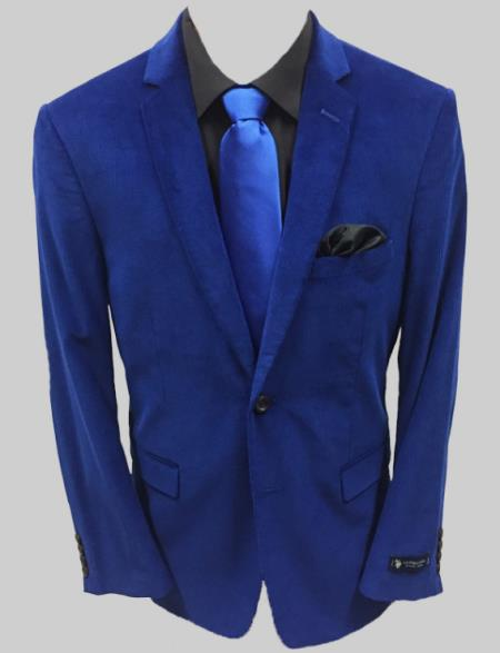 Blue Solid Corduroy Sportcoat