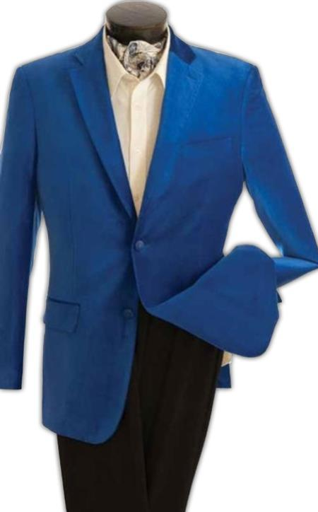 velour Blazer Jacket Mens Fashion 2 Button Velvet Jacket Royal Blue
