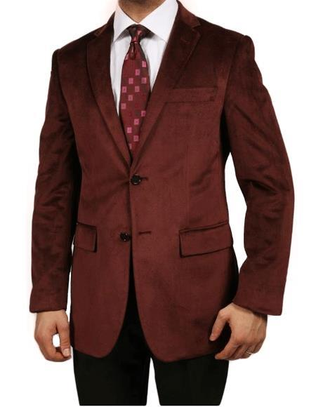 Velour Blazer Jacket Burgundy ~ Maroon ~ Wine Color Luxurious Velvet Highlights