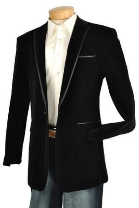 Mens Black Velvet Velour Blazer Jacket Trim Lapel Tuxedo Looking!
