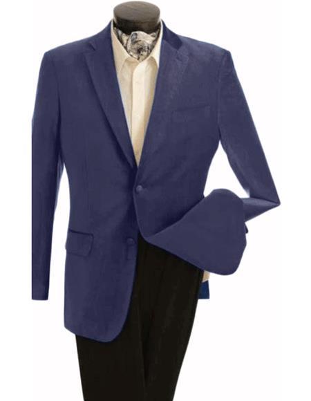 Velour Blazer Jacket Mens Fashion 2 Button Velvet Jacket Navy Blue