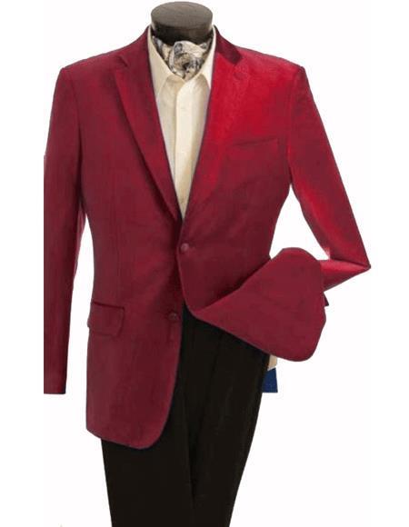 Velour Blazer JacketMens Fashion 2 Button Velvet Winish Burgundy ~ Maroon ~ Wine Color Maroon