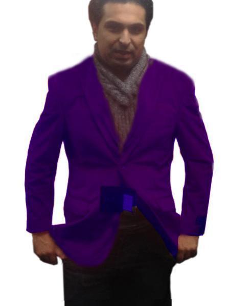Velour Blazer Jacket  Single-Breasted Fully Lined Mens 2 Btn Notch Collar Velvet Purple